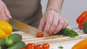 En kvinna klipper en körsbärsröd tomat med en kniv på ett delat bräde stock video