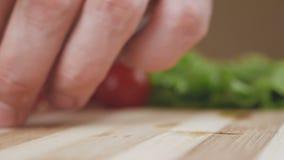 En kvinna klipper en körsbärsröd tomat med en kniv på ett delat bräde lager videofilmer