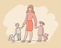 En kvinna med barn, en pojke och en flicka också vektor för coreldrawillustration Royaltyfri Fotografi