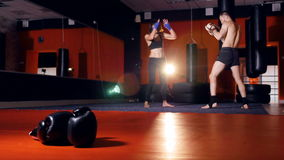 En kvinna munhuggas med en manlig boxare arkivfilmer