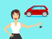 En kvinna och en bil En kvinna som kör en bil vektor royaltyfri illustrationer