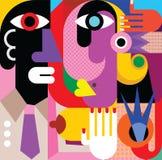 En kvinna och en man vektor illustrationer