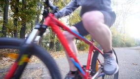 En kvinna och en man som rider en cykel om höstdagen Vektorillustration för din design långsam rörelse arkivfilmer