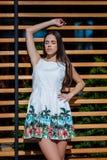 En kvinna poserar i en klänning på en gata och på en träbakgrund Den charmiga damen med mörkt hår tycker om en solig dag Royaltyfria Foton