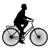 En kvinna rider på en orange cykel med bagage, lägenhetstil Arkivbild
