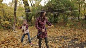 En kvinna rymmer krattar Rengöra av stupad gul och orange lövverk Dottern hjälper mamman lager videofilmer