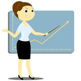 En kvinna rymmer presentation Arkivfoton