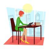En kvinna sitter på tabellen och arbetet på en bärbar dator vektor illustrationer