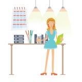 En kvinna som arbetar i kontoret Mappar med dokument på skrivbordet Vektorillustration som isoleras på white stock illustrationer