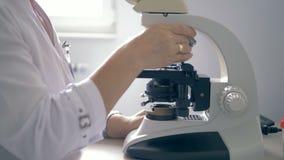 En kvinna som arbetar med ett mikroskop, slut upp stock video