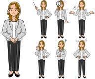 En kvinna som bär en dräkt, sju poserar uppsättningar royaltyfri illustrationer
