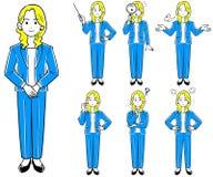 En kvinna som bär ett omslag, affärskvinna, poserar sju uppsättningar stock illustrationer