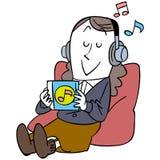 En kvinna som lyssnar till musik och kopplar av royaltyfri illustrationer