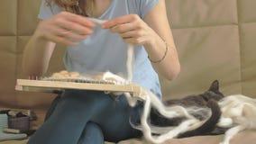 En kvinna väver på en vävstol en härlig broderi som göras av garn, i en hem- studio, katten, är nära stock video