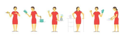 En kvinnauppsättning av olikt poserar förberedelsemat vid receptet Disk och kastrull Röd klänning, härlig spenslig flicka Arkivfoto