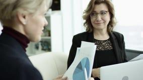 En kvinnlig chef framl?gger nytt projektplan till kollegor p? m?te som in f?rklarar id?er p? flipchart till coworkers arkivfilmer