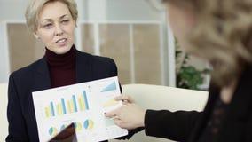 En kvinnlig chef framl?gger nytt projektplan till kollegor p? m?te som in f?rklarar id?er p? flipchart till coworkers lager videofilmer