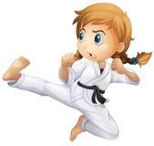 En kvinnlig görande karate stock illustrationer