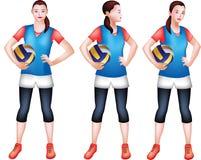 En kvinnlig volleybollspelare i en blå sportig dress vektor illustrationer