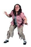 En kvinnligZombiefasa på White Arkivfoton