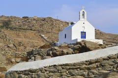 En kyrka i Mykonos, Grekland Arkivbild