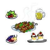 En läcker kebab, ett kött och ett öl och söta kakor stock illustrationer