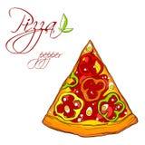 En läcker skiva av pizza Royaltyfri Foto