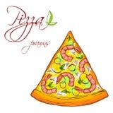 En läcker skiva av pizza Arkivfoto