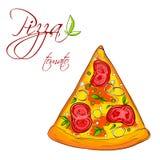 En läcker skiva av pizza Fotografering för Bildbyråer