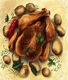 En läcker tacksägelse Turkiet på en säng av bakade potatisar med smörsås stock illustrationer