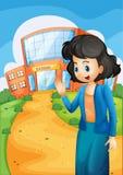 En lärare framme av skolan stock illustrationer