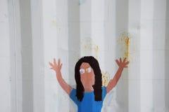En lättrogen målning på sidan av en sändningsbehållare visar en flicka med hennes armar i luften Royaltyfria Bilder