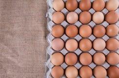 En låda av feg äggdropp arkivbild