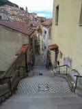 En lång gata i form av en trappuppgång som stenläggas med gråa och vita tegelplattor arkivfoto