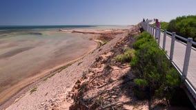 En lång väg bredvid en strand stock video