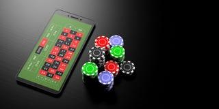 En línea apostando Smartphone y fichas de póker del casino en un fondo negro, bandera, espacio de la copia ilustración 3D stock de ilustración