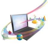 En línea aprendiendo o enseñando concepto ilustración del vector