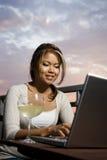 En línea con el vidrio de vino Fotografía de archivo libre de regalías