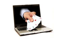 En línea jugando Imagen de archivo libre de regalías