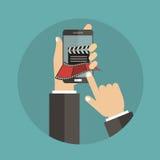 En línea la película del cine de la orden marca concepto Foto de archivo libre de regalías