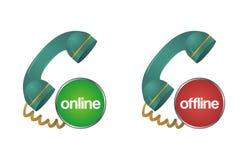 En línea, off-line, charle, apoye, ayude al icono del teléfono Imagen de archivo libre de regalías