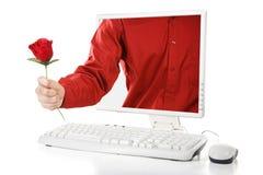 En línea se levantó para la tarjeta del día de San Valentín Foto de archivo libre de regalías