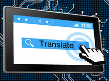 En línea traduzca el World Wide Web y la lengua de los medios Foto de archivo libre de regalías
