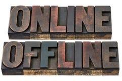 En línea y off-line en el tipo de madera Imágenes de archivo libres de regalías