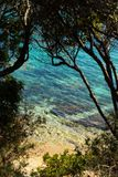 En lös strand med klart blått vatten, i Korsika royaltyfria foton