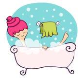 En la bañera ilustración del vector