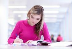 En la biblioteca - estudiante femenino bonito Imágenes de archivo libres de regalías