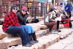 En la estación de esquí imágenes de archivo libres de regalías