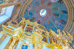 En la iglesia de St Sergius Lavra Fotos de archivo