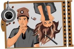 En la imagen del artista, de un individuo y de una muchacha stock de ilustración